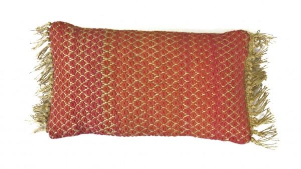 Kissen Deko Sofa Zierkissen Jute Natur Unique Living Rosalie Rot Rosa 30 x 50 cm Hippie
